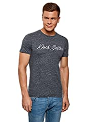 oodji Ultra Hombre Camiseta Recta con Inscripción Bordada
