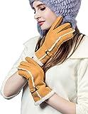 YISEVEN Damen Lammfell Leder Handschuhe Frauen Winter Dicke Fell Echtleder Schaffell Gefüttert Lederhandschuhe Winterhandschuhe Damenhandschuhe Fellhandschuhe Lammfellhandschuhe Geschenk, Kamel M