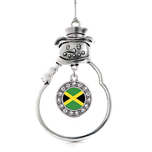 Inspired Silver - Jamaican Flag Charm Ornament - Silver Circle Charm Snowman Ornament with Cubic Zirconia Jewelry