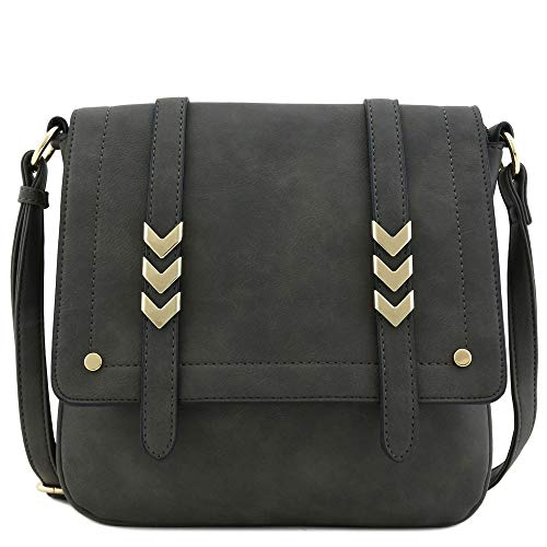 Double Compartment Large Flapover Crossbody Bag, Charcoal Grey, Size One Size