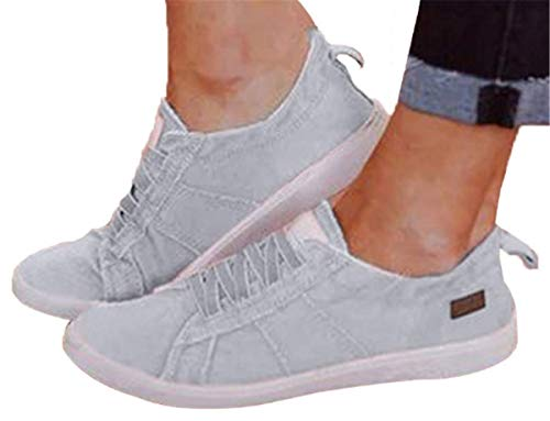 Womens Canvas Shoes Flat Sports Running Shoes Summer Zipper Beach Shoes Casual Single Shoes by Gyouanime (Gray, US:8)