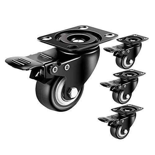 KaidanCasters för att flytta möbler 5 cm hjul uppsättning av 4 svängbara industriella hjul med broms, PU svängbara hjul ljudfria vagnshjul möbelhjul PVC-hjul (färg: svart)
