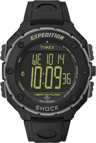 Timex Expedition Shock XL - Reloj análogico para Hombre de cuarzo con correa de resina, color Negro
