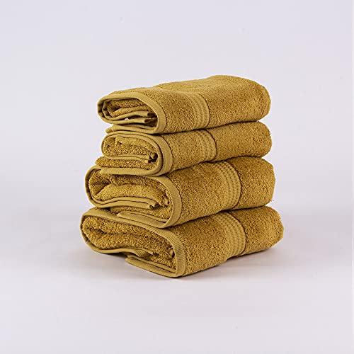 PimpamTex – Juego de Toallas Premium 700 Gramos de Secado Rápido para Baño, 100% Algodón, Pack Toallas de Baño + Toallas de Mano – (Mostaza, 2 de 70x140 cm + 2 de 50x100 cm)