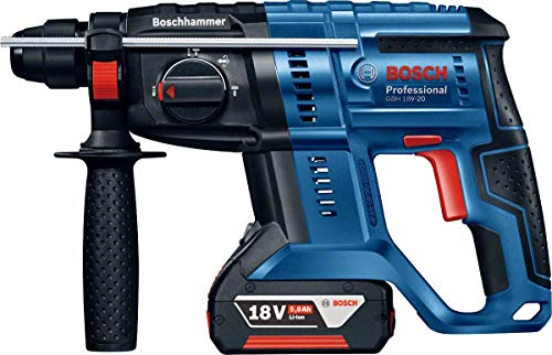 Bosch Professional 18V System Akku Bohrhammer GBH 18V-20 (SDS Plus, Schlagenergie: 1,7 Joule, Bohr-Ø max.: Beton/Stahl/Holz 20/13/30 mm, inkl. 2x 5,0 Ah Akku, im Koffer)
