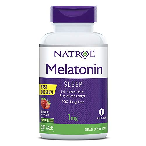 Natrol Melatonin Fast Dissolve Tablets, Helps You Fall Asleep Faster, Stay Asleep Longer, Easy to Take, Dissolves in Mouth, Faster Absorption, Maximum Strength, Strawberry Flavor, 1mg, 200 Count