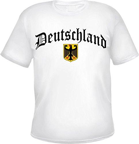 Deutschland T-Shirt Altdeutsch mit Wappen XL Weiß