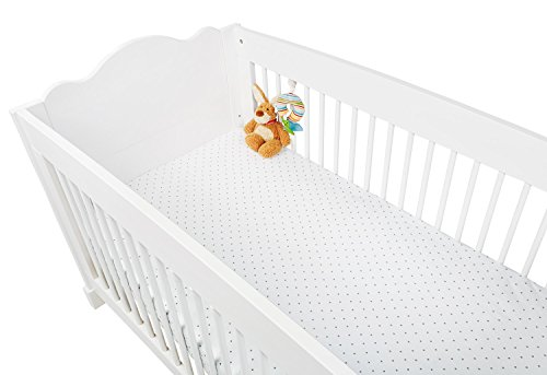 Pinolino 540022-8D Spannbetttücher für Kinderbetten im Doppelpack 'Sternchen', Jersey, Uni, weiß/grau