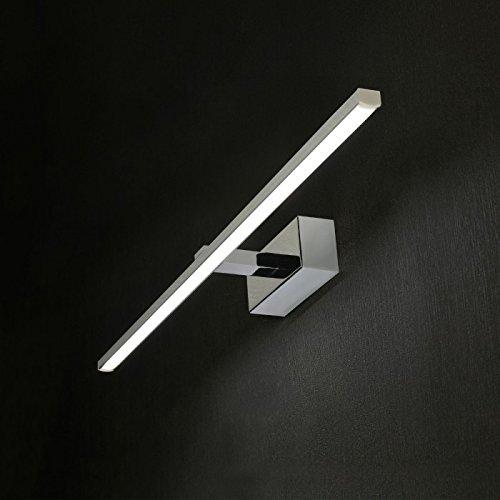 Applique cromo lucido luce per specchio bagno moderno design squadrato bianco led 20w 3000k Garanzia 5 anni
