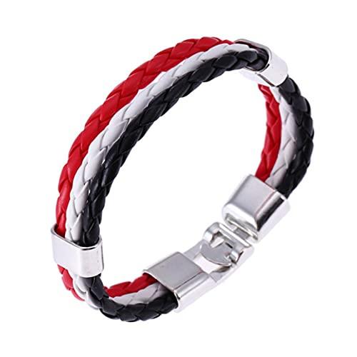 Hergswre Pulsera de joyería Unisex de Moda Pulsera de 3 Capas Hecha a Mano de Cuero Trenzado Cuerda de muñeca Pulsera con dijes Bandera Copa del Mundo Color - Rojo + Blanco + Negro