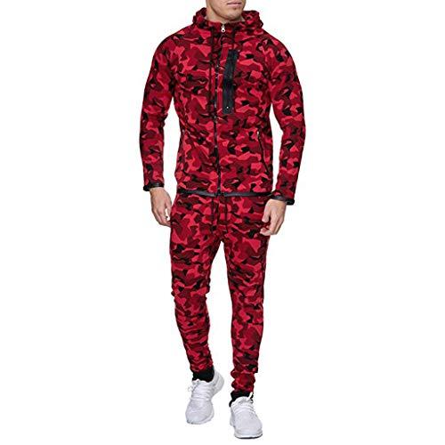 Allence Herren Cargo Stil Sportanzug Jogginganzug Trainingsanzug Camouflage Sporthose+Hoodie