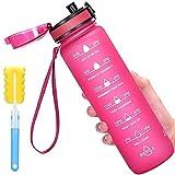 Botella de agua con marcador de tiempo, botella de agua motivacional de 32 onzas con filtro y cepillo de limpieza, reutilizable y libre de BPA, botella de agua Tritan para deportes y fitness