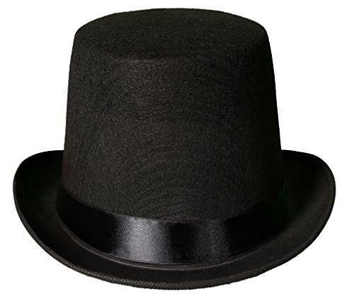 Kangaroo Deluxe Black Top Hat For Men Stove Pipe Perfect for Ringmaster or Vampire Costume Hat
