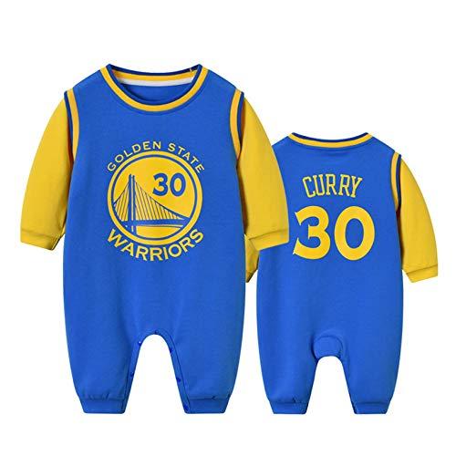 DHRBK Mameluco para bebé recién Nacido NBA Stephen Curry 30 Golden State Warriors Trajes cálidos de Invierno Niños Niñas Estampado de Manga Larga Mono para 0-24 Meses