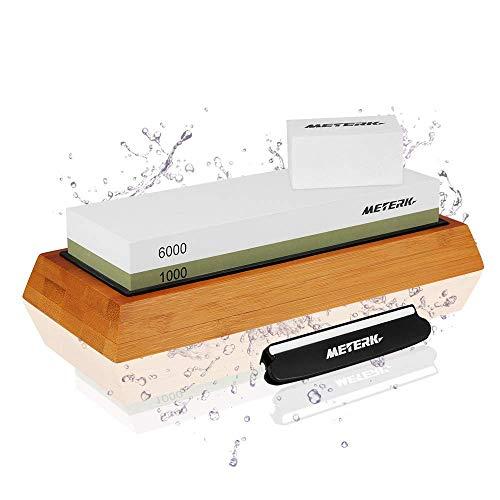 Meterk Pietra per affilare 2-in-1 Affilacoltelli Cote 1000/6000 Alta qualità Pietra Affilacoltelli Grana Combinazione Affilacoltelli Professionale-con Base in Silicone Antiscivolo