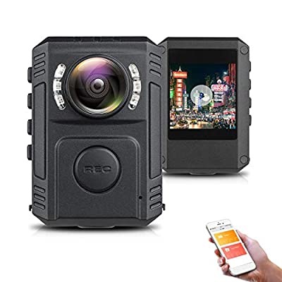 Mini Body Camera Waterproof Night Vision, Body Camera with Audio Recording Wearable, HD Police Body Camera, Police Body Camera for Law Enforcement, Body Cam, Built in 128GB SD Card from RZATU
