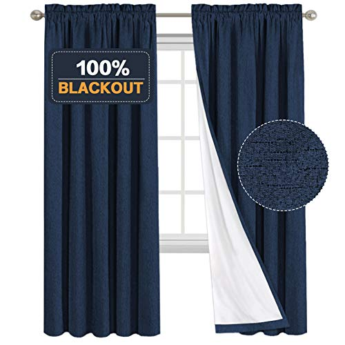 Functional 100% Blackout Curtain with Liner for Living Room Rod Pocket Window Curtain Drapes Waterproof Primitive Linen Look Curtains 2 Panels Room Darkening Curtains for Bedroom ( 52 x 84 Inch, Navy)