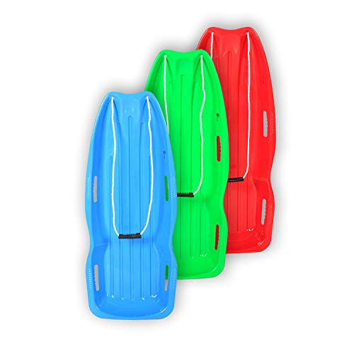 BOOWAY Toboggan Snow Sled 48in with Pull Rope and 4 Handles, Outdoor Plastic Snow Sled for Kids and Adults - 3 Pack