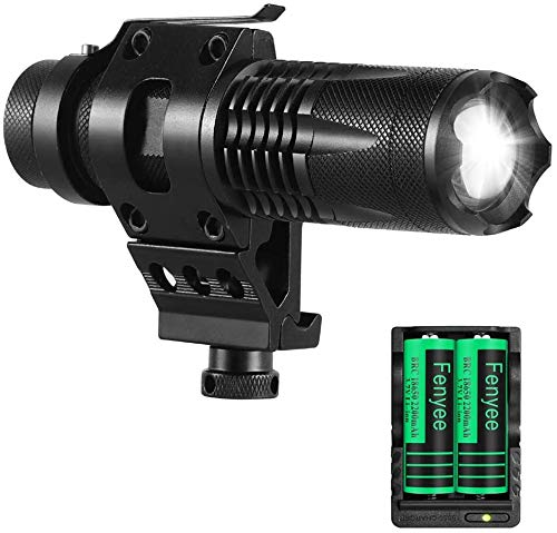 Fenyee Tactical Flashlight Adjustable 350 Yards 1200 Lumen LED Light with Offset Mount for Outdoor Hunting Rechargeable Batteries