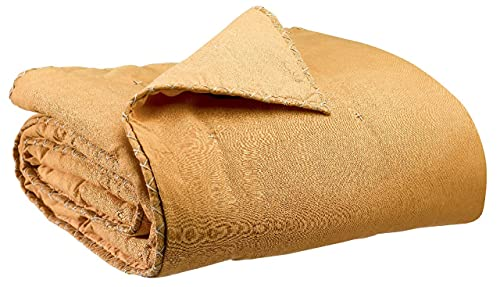 Vivaraise - Colcha para cama y sofá Nala - Manta auxiliar ligera reversible - Tejido de lino y algodón - Acabado con volante plano bordado