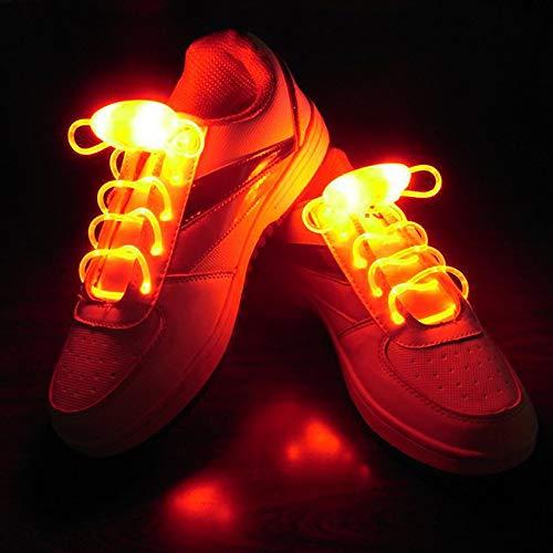 KAILUN Led Cordones Brillantes Cordón Luminoso Encaje Intermitente para Niños Decoración De Ocio Danza Deportes Corriendo Luz De Advertencia,Orange
