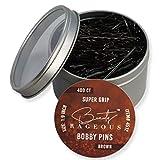 Super Grip Brown Bobby Pins - 400 Ct Approx - Handy Reusable Tin