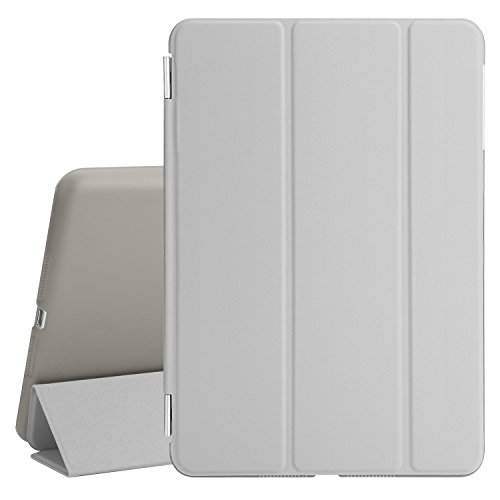 Besdata® iPad mini 2/mini3 Hülle - Ultra Dünn Edles Smart Cover Schutz Hülle Hülle Cover Leder Tasche Etui Schutztasche + Back Hülle für Apple iPad mini 2/mini3 - inkl. Bildschirmschutzfolie Reinigungstuch Stift mit Multi Ständer - Unterstützt Sleep / Wake Funktion (Grau, iPad mini2/mini3)