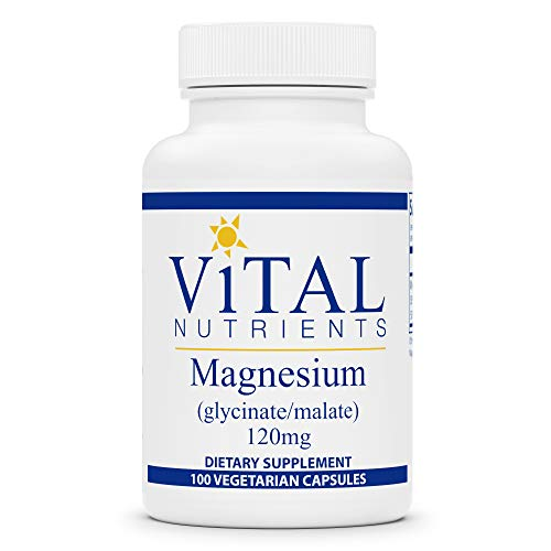 Vital Nutrients - Magnesium (Glycinate/Malate) - Magnesium for Sensitive Individuals - Supports Heart Health and Calcium Absorption - 100 Vegetarian Capsules per Bottle - 120 mg