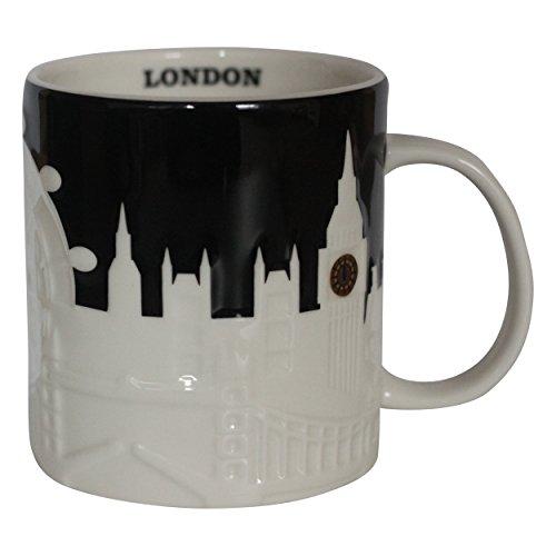 Starbucks Becher - London - Relief Kaffebecher, Höhe 10,5cm, Durchmesser 9,3cm. Steingut. Spülmaschinen und Mikrowellengeeignet.