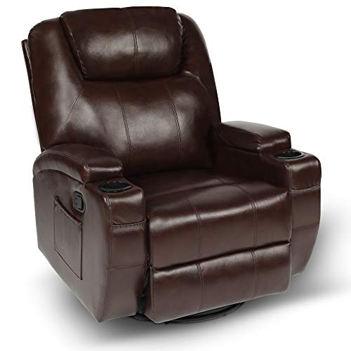 Massage Recliner Chair,Leather Recliner Chairs for Living Room,Rocker Recliner with 360 Degree Swivel,Glider Rocking Recliner with Cup Holders (Brown)