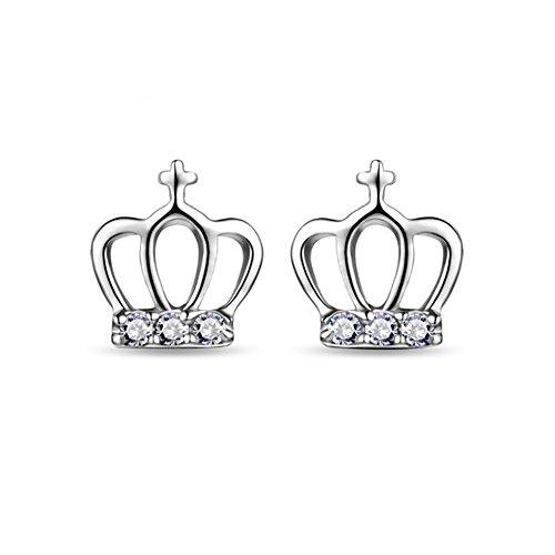 CS priorità Orecchini a lobo placcati argento, motivo: corona Orecchini per bambina da donna San Valentino presente