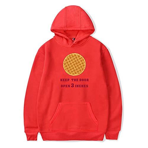 Stranger TV Show Hoodie Hopper & Eleven Keep The Door Open 3 Pulgadas Sudaderas Pullover Waffle Print Top para Mujeres Hombres
