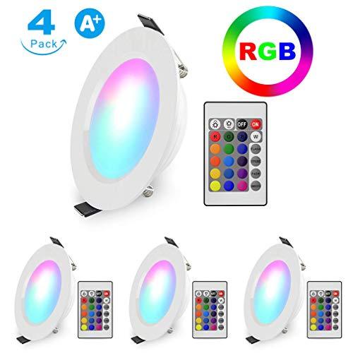 LED Einbaustrahler RGB Schwenkbar Ultra flach 5W 230V Rund Panel Deckenspots Weiß Farbwechsel Farbige Warmweiss Einbauleuchten Deckenleuchte Spots mit Fernbedienung, 4er-Pack