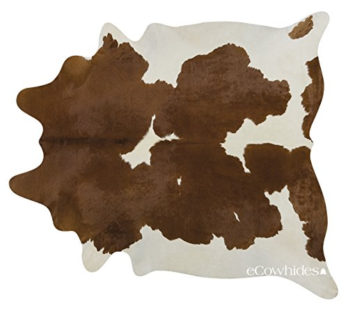 eCowhides Brown and White Brazilian Cowhide Area Rug, Cowskin Leather Hide...