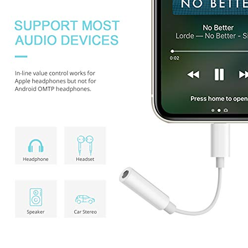 QX Headphones Adapter Jack Lighting to 3.5mm Earbuds Adapter Aux Cable Earphones/Headsets Support iOS Compatible with iPhone Xs Max/XR/X/8/8 Plus/7/7 Plus/i pad-2 Pack