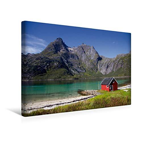 CALVENDO Premium Textil-Leinwand 45 cm x 30 cm quer, Fjord der Lofoten | Wandbild, Bild auf Keilrahmen, Fertigbild auf echter Leinwand, Leinwanddruck: EIN zwischen Bergen und Meer Orte Orte