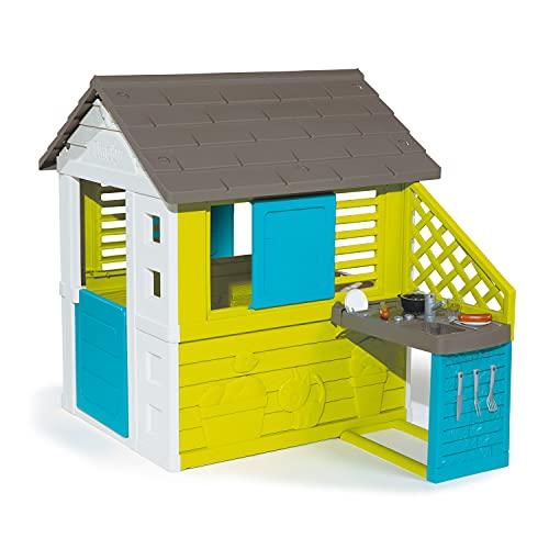 Smoby - Maison Pretty + Cuisine d'Eté - Cabane de Jardin Enfant - 2 Fenêtres avec Persiennes + 17 Accessoires - 810711