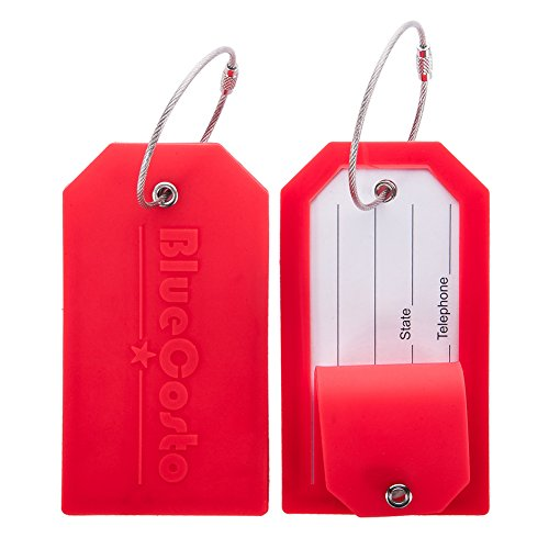 BlueCosto 2X Luggage Tags Suitcase Tag Travel Bag Large Labels w/Privacy Cover - Red