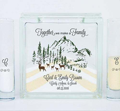 Wedding Candles - Candle Holders - Blended Family Wedding Unity Sand Ceremony Set, Unity Candle, Together We Make a Family, Buck and Doe and Fawns Wedding Theme - Unity Candle Sand Set For Weddings
