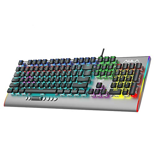 AULA F2099 Verdrahtet Mechanische Gaming Tastatur mit Medien Knopf, Ergonomische Mechanical Games Keyboards 104-Tasten Anti-Ghosting PC Spiele Tastaturen QWERTY US-Layout (Braun Switch)