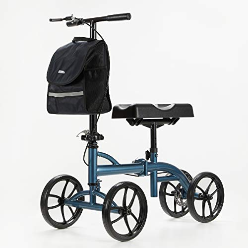 OasisSpace Heavy Duty Knee Walker Supports up 500 lbs - Bariatric Knee Scooter £¬Foldable All Terrain Knee Walker with Basket, Dual Brakes, Scooter for Foot Ankle Injuries, Crutches Alternative