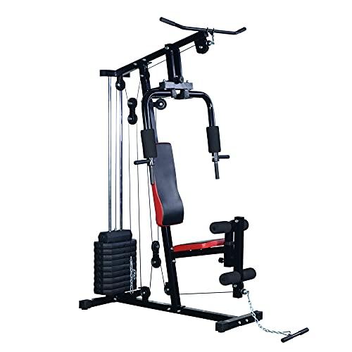 HOMCOM Multiestación de Musculación Máquina Entrenamiento con Estribo para Piernas Poleas y Placas de Peso de 45 kg para...