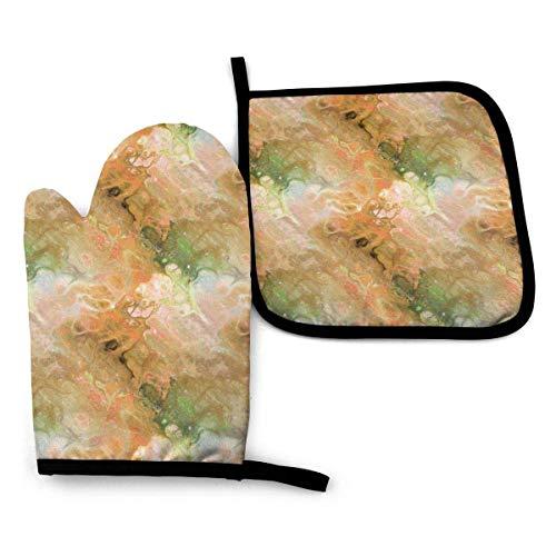 Guantes de Cocina y Juego de Mantel Individual Flor de mármol evanescente naranja óxido verde en la nebulosa del cielocon Silicona Antideslizantes para Cocinar, Asar(Juego de 2 piezas)