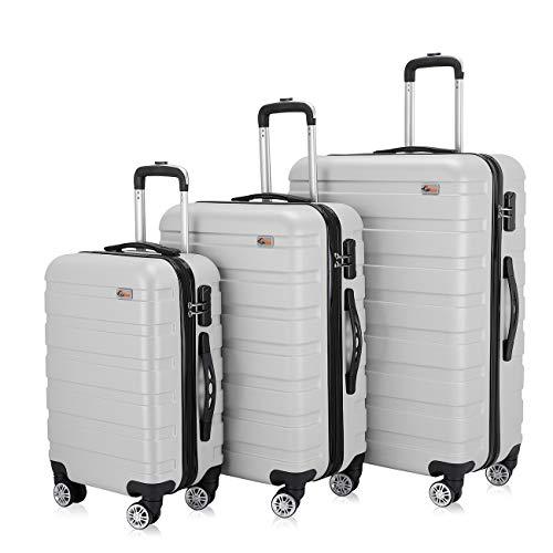 SAMAX 3tlg. Reisekoffer Handgepäck Hartschalen-Koffer Set 'Metro' Trolley Rollkoffer - Silber (M + L + XL)