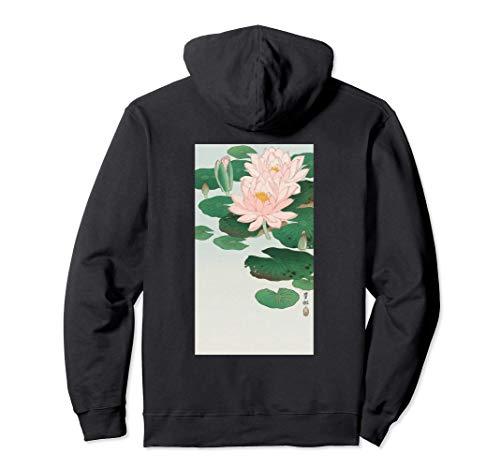 Japanese Aesthetic Lotus Flower Vintage Woodblock Art Print Pullover Hoodie