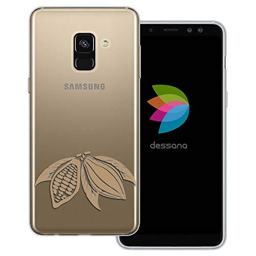 dessana chocolade transparante beschermhoes mobiele telefoon case cover tas voor Samsung Galaxy A J, Samsung Galaxy A8 (2018), Cacao-plant.