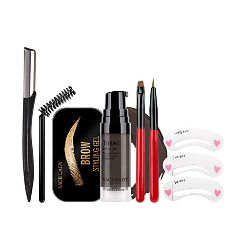 Eyebrow Gel Kit with Brow Soap Wax & 2PCS Eyebrow Brushes & Stencil Razor Set, Tinted Long Lasting Cruelty Free Eyebrow Gel for Natural Waterproof Eyebrow Makeup, Flake-proof, Smudge-proof, Black Brown