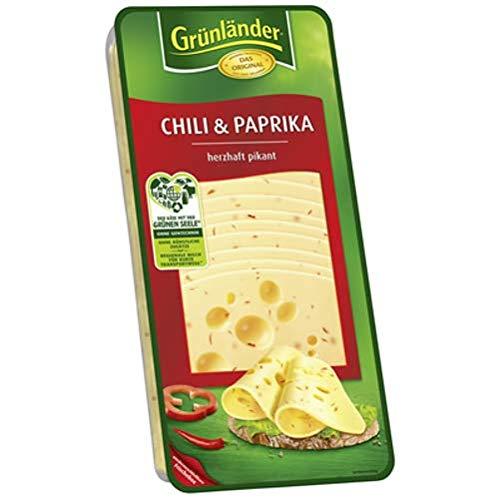 Grünländer Chili & Paprika herzhaft pikant, Schnittkäse, 48 % Fett i. Tr. 500 g