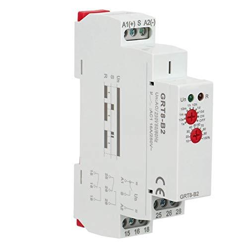 SALUTUYA Relé de Tiempo de Carril DIN, Interruptor de Control de Tiempo electrónico no programable, Temporizador automático, Completamente Nuevo, para retardo de Encendido (AC230V)(AC/DC12V-240V)