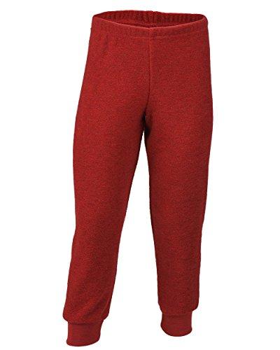 Engel Natur, Kinder Frottee Hose / Bequemhose, 100% Wolle (kbT), Rot Melange, 104 cm